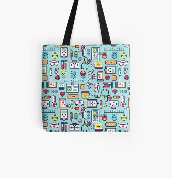Proud To Be a Nurse / Surface Pattern Design / Blue All Over Print Tote Bag
