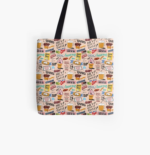 Coney Island Food Sign Pattern - Pink All Over Print Tote Bag