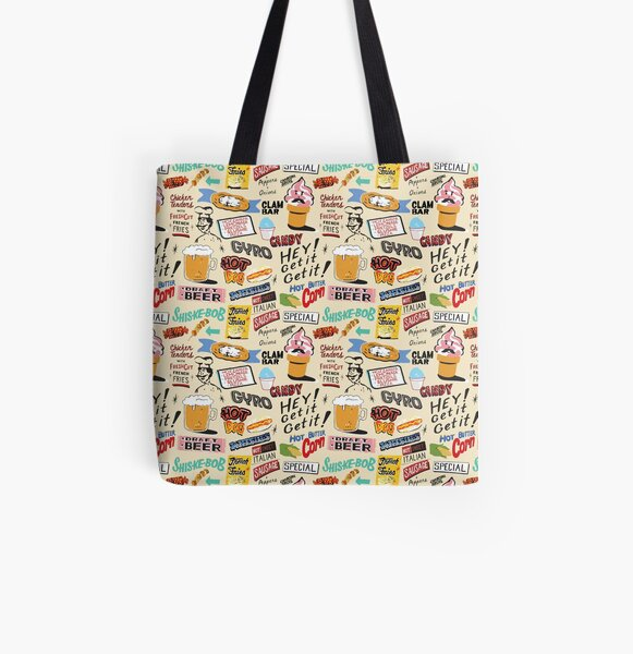 Coney Island Food Sign Pattern - Cream  All Over Print Tote Bag