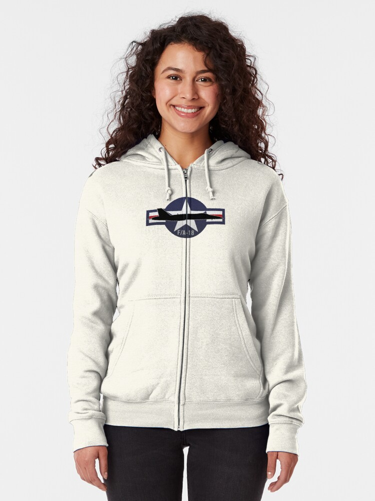 Alternate view of F/A-18 Super Hornet Military Fighter Jet Aircraft Zipped Hoodie