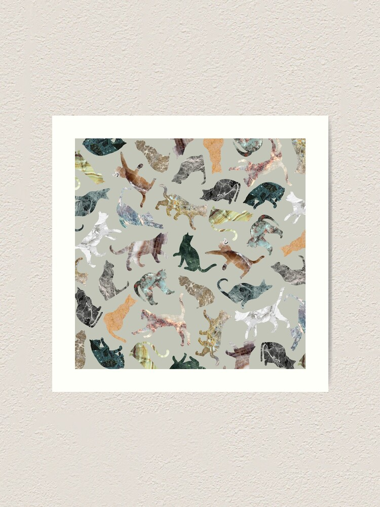 Alternate view of Marble Cats Art Print