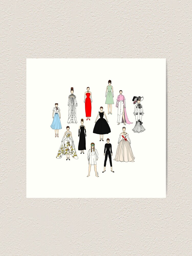 Alternate view of Audrey Fashion Whimsical Layout Art Print