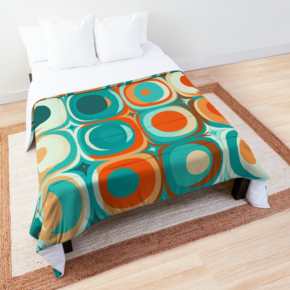 Turquoise and Orange Dots Comforter