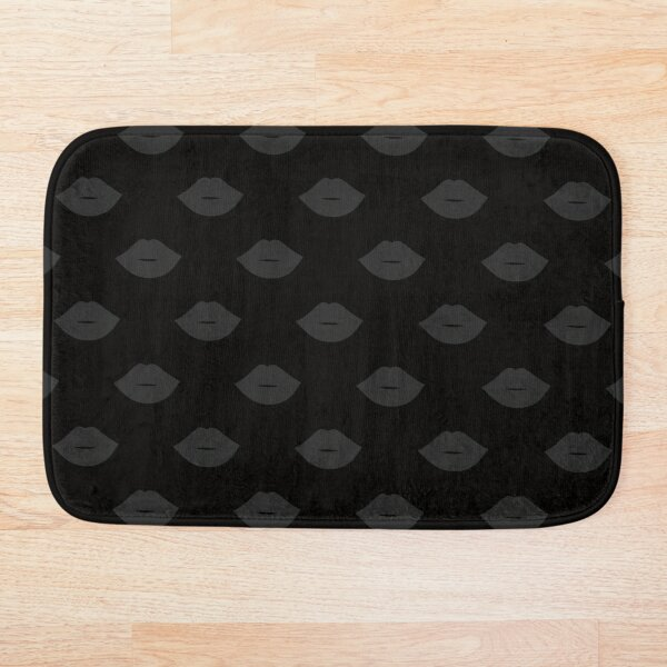 Lips Black on Black Bath Mat