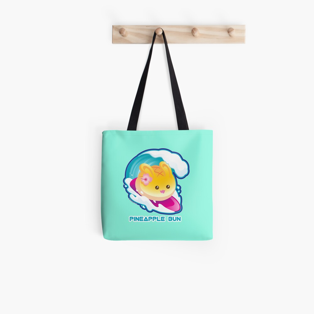 Punny Buns: Cute Surfing Pineapple Bunny Pun Tote Bag