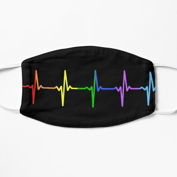 Rainbow Pulse Hearbeat LGBT Flat Mask