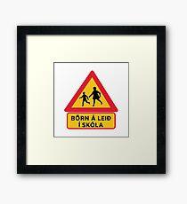 Caution Children School, Traffic Sign, Iceland Framed Print