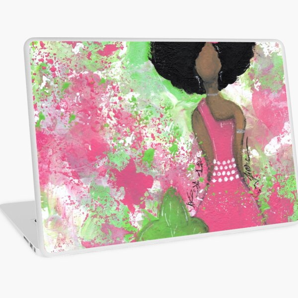 Dripping in Pink and Green Angel Laptop Skin