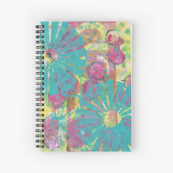 Blue Flower Abstract Spiral Notebook