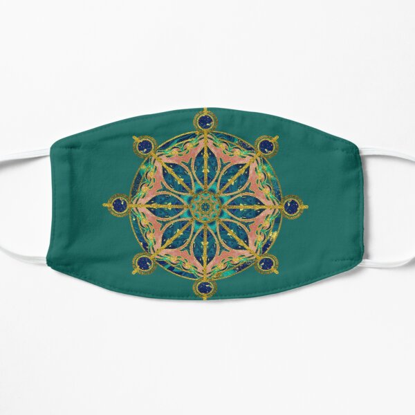 Dharma Wheel - Dharmachakra Gemstone & Gold Flat Mask