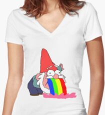 Gnome puking happiness - Gravity Falls Women's Fitted V-Neck T-Shirt