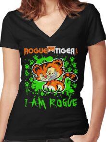 RogueTiger.com - Smirk Logo Green (dark) Women's Fitted V-Neck T-Shirt