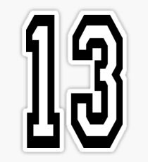 13, TEAM SPORTS, NUMBER 13, THIRTEEN, THIRTEENTH, ONE, THREE, Competition, Unlucky, Luck Sticker