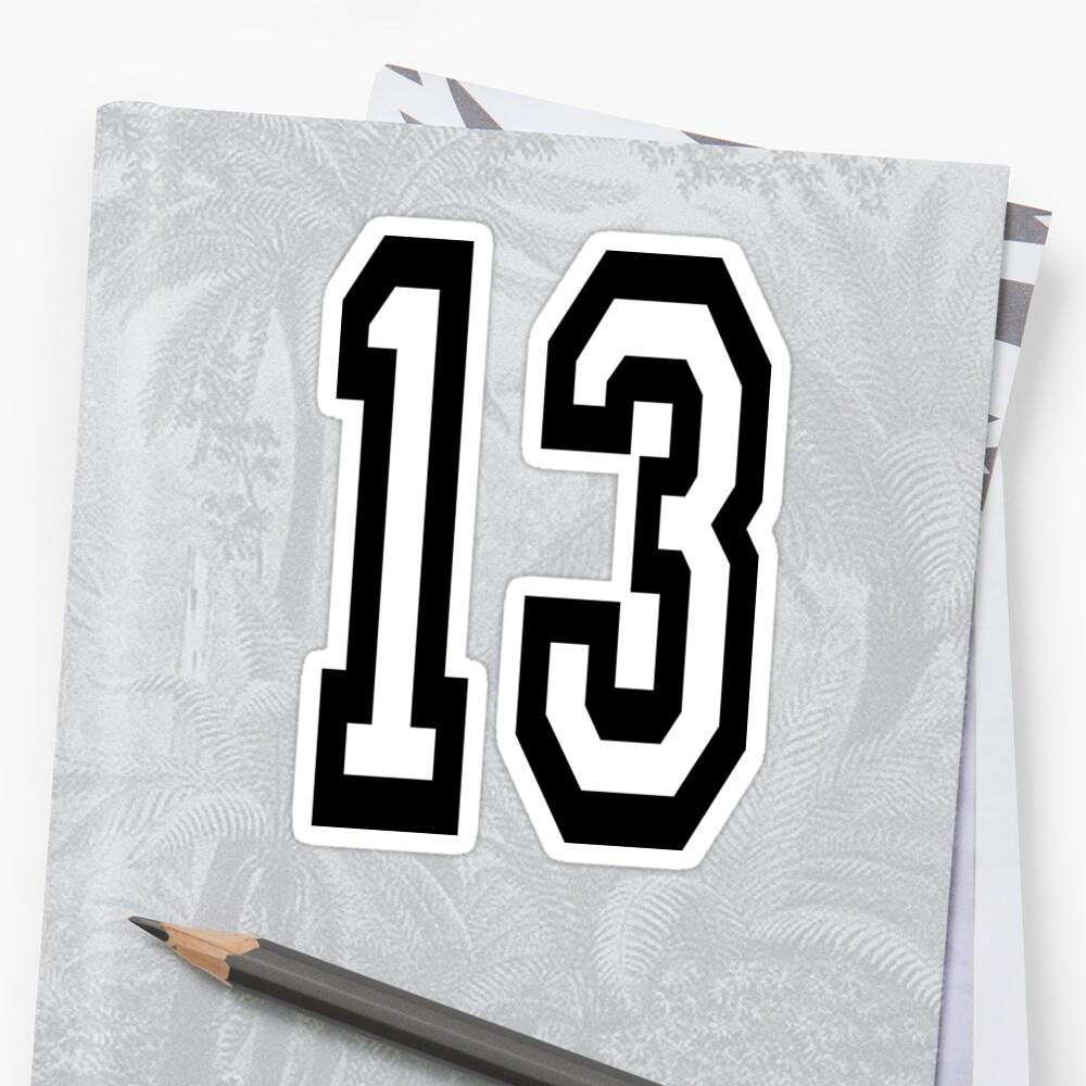 13, DEPORTE DE EQUIPO, NÚMERO 13, TRECE, DECIMOTERCER, UNO, TRES, Competencia, Mala suerte, Suerte Pegatina