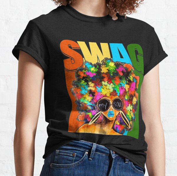 Vintage Retro Swag Melanin Black Afro Queen Woman Gift Classic T-Shirt