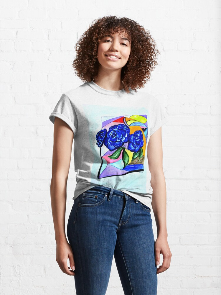 Alternate view of Whimsical Blue Roses Trans BG Classic T-Shirt