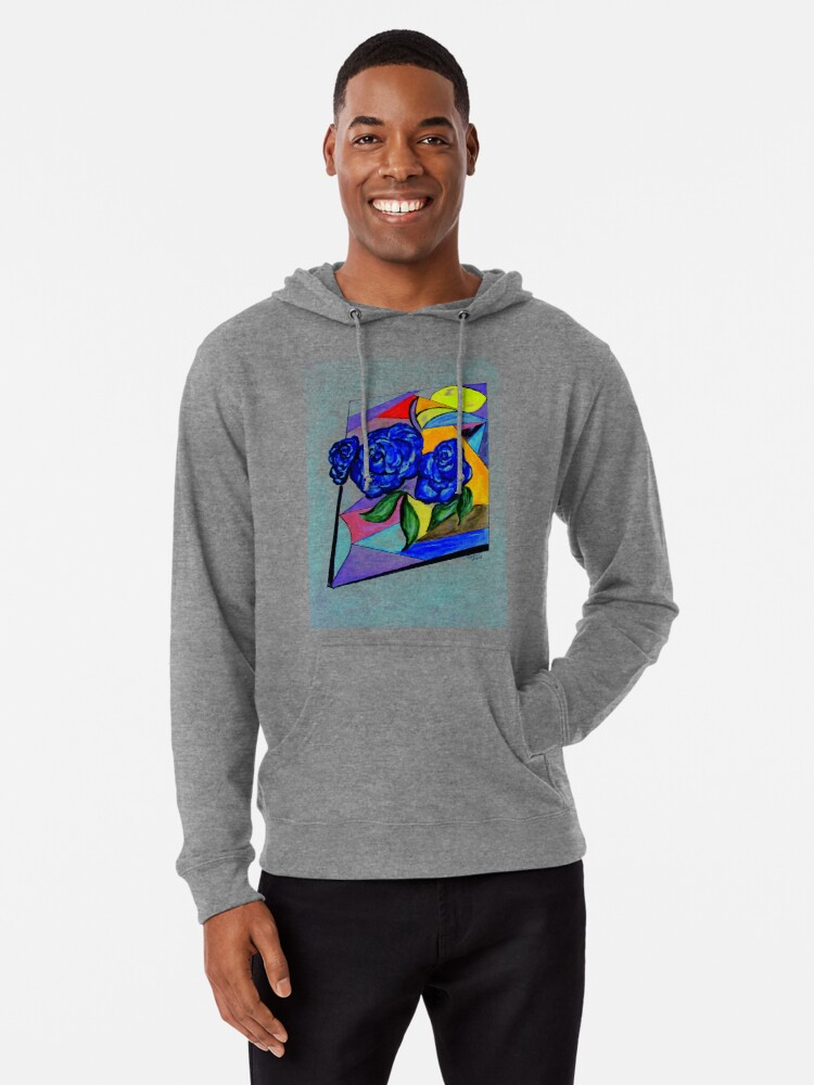 Alternate view of Whimsical Blue Roses Trans BG Lightweight Hoodie