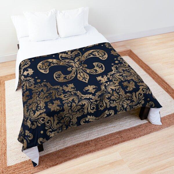 Luxury Fleur-de-lis Ornament - gold and dark blue Comforter