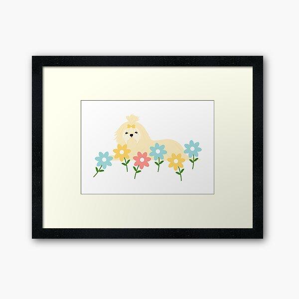 Cute Maltese Dog and Flowers  Framed Art Print