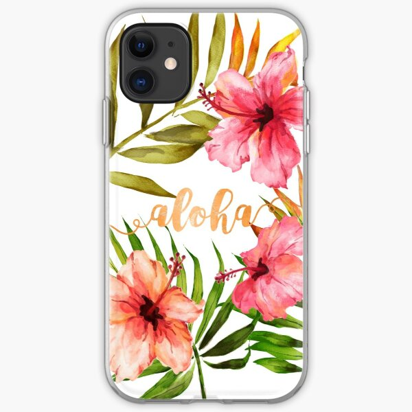 Aloha Tropical Hawaiian Floral Watercolor iPhone Soft Case