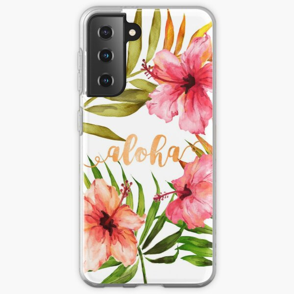 Aloha Tropical Hawaiian Floral Watercolor Samsung Galaxy Soft Case