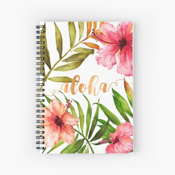 Aloha Tropical Hawaiian Floral Watercolor Spiral Notebook