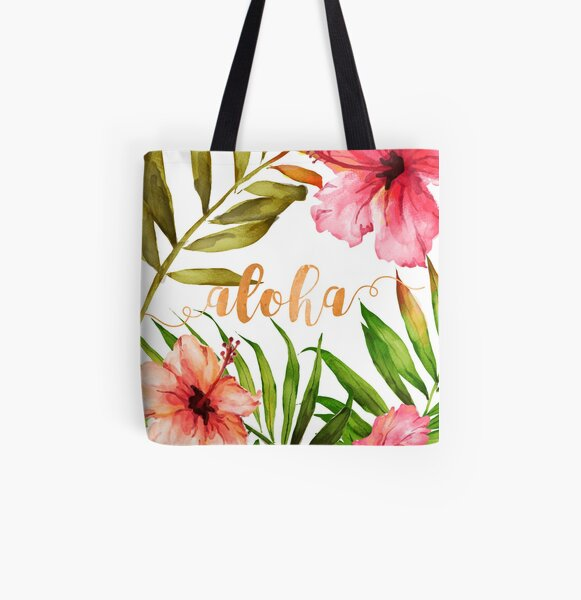 Aloha Tropical Hawaiian Floral Watercolor All Over Print Tote Bag