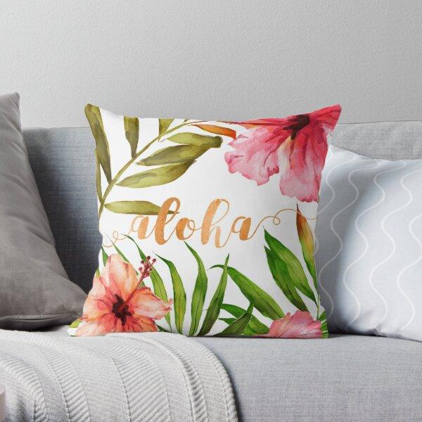 Aloha tropisches hawaiianisches Blumenaquarell Dekokissen
