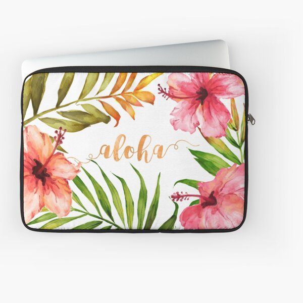 Aloha Tropical Hawaiian Floral Watercolor Laptop Sleeve