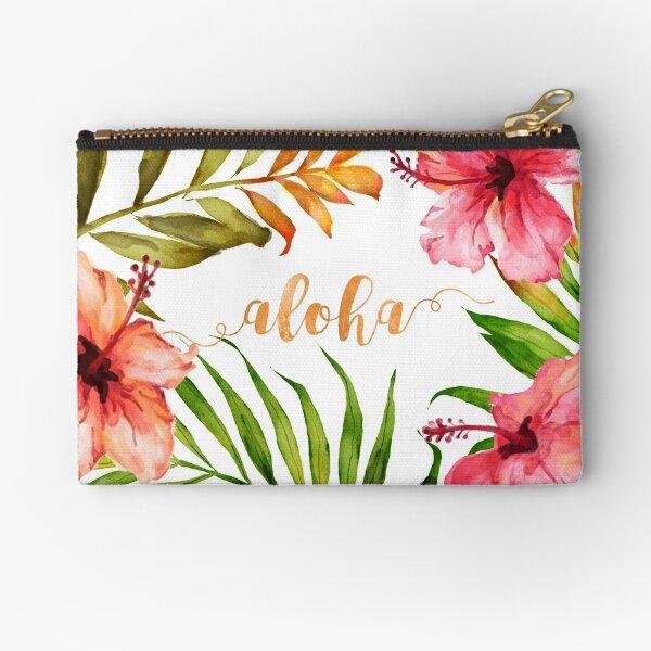 Aloha Tropical Hawaiian Floral Watercolor Zipper Pouch