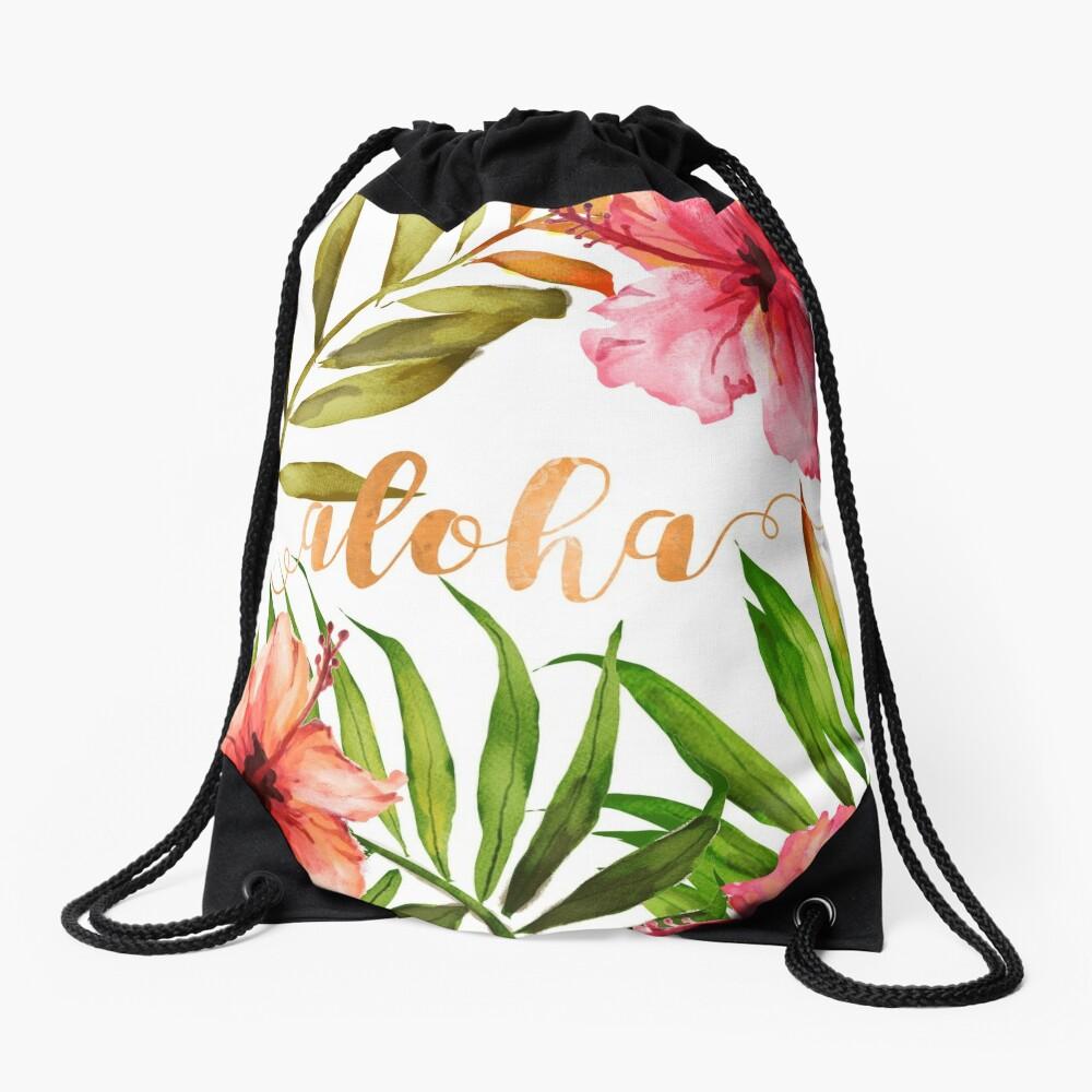 Aloha Tropical Hawaiian Floral Watercolor Drawstring Bag