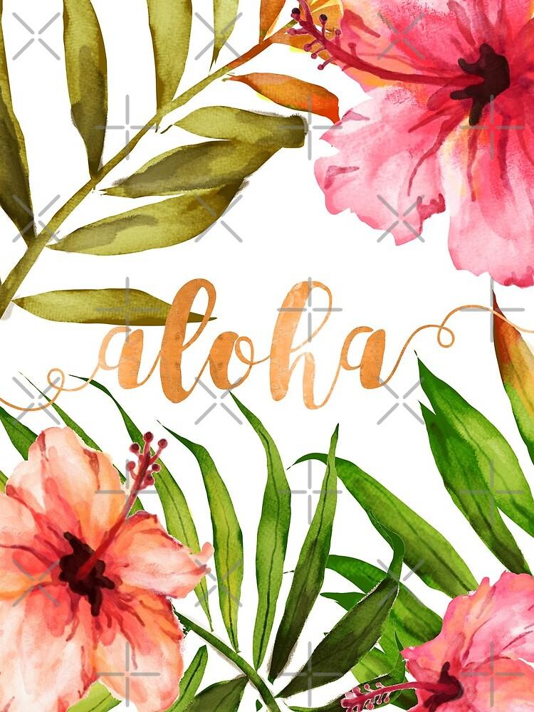 Aloha Tropical Hawaiian Floral Watercolor by AbigailVigh