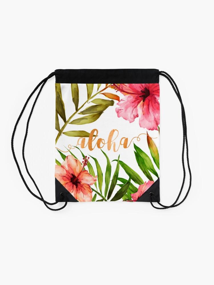 Alternate view of Aloha Tropical Hawaiian Floral Watercolor Drawstring Bag