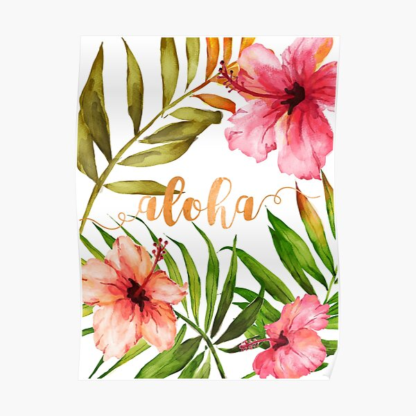 Aloha Tropical Hawaiian Floral Watercolor Poster