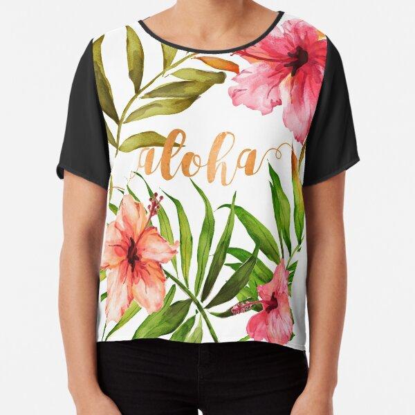 Aloha Tropical Hawaiian Floral Watercolor Chiffon Top