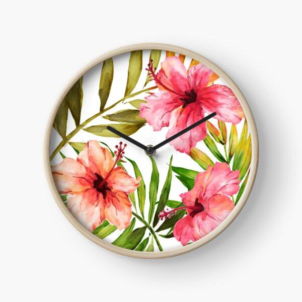Aloha Tropical Hawaiian Floral Watercolor Clock
