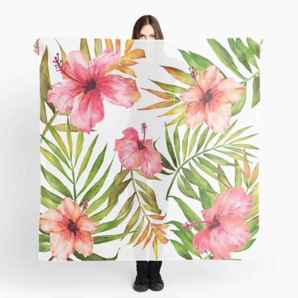 Aloha Tropical Hawaiian Floral Watercolor Scarf