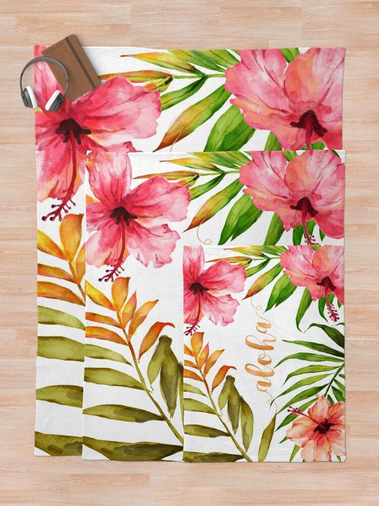 Alternate view of Aloha Tropical Hawaiian Floral Watercolor Throw Blanket