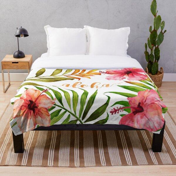 Aloha Tropical Hawaiian Floral Watercolor Throw Blanket