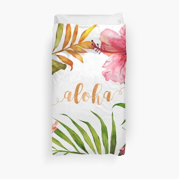 Aloha Tropical Hawaiian Floral Watercolor Duvet Cover