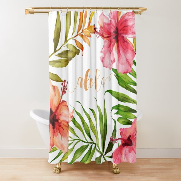 Aloha Tropical Hawaiian Floral Watercolor Shower Curtain