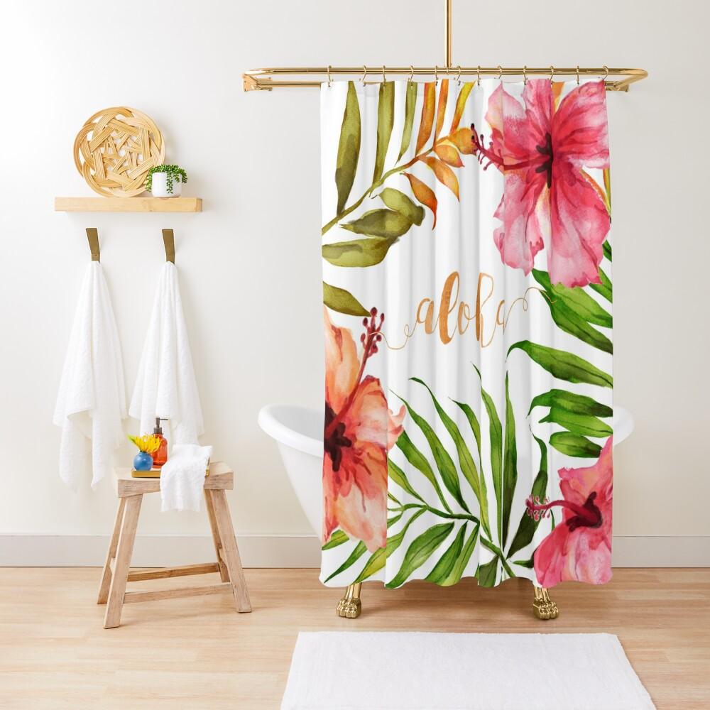 Aloha Tropical Hawaiian Floral Watercolor Shower Curtain