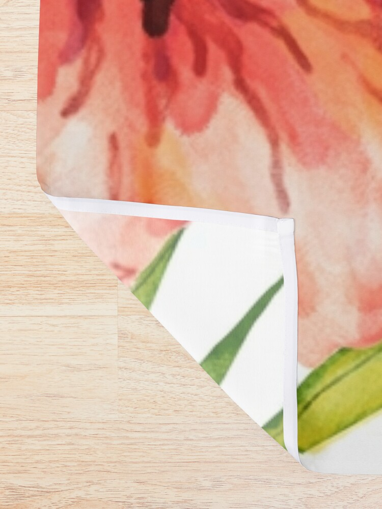 Alternate view of Aloha Tropical Hawaiian Floral Watercolor Shower Curtain