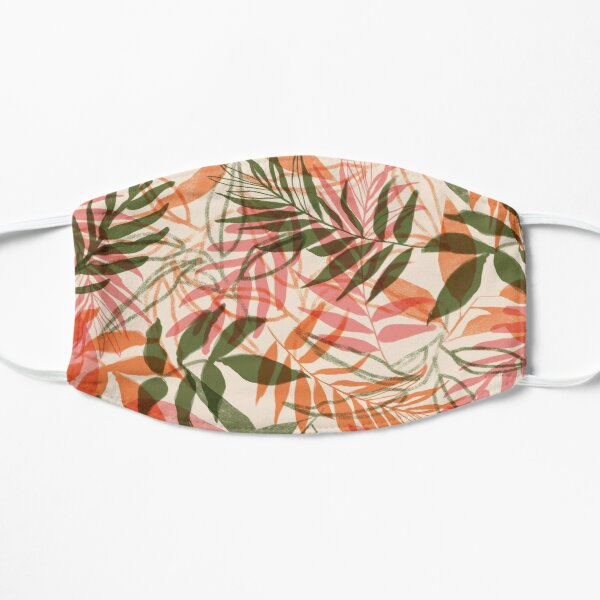 Tropical foliage pink and green Mask