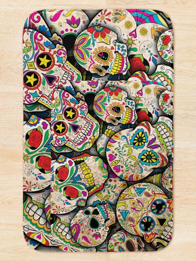 Alternate view of Sugar Skull Collage Bath Mat