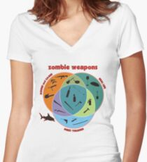 Zombie weapons Women's Fitted V-Neck T-Shirt