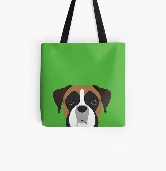Boxer Dog Portrait Illustration All Over Print Tote Bag