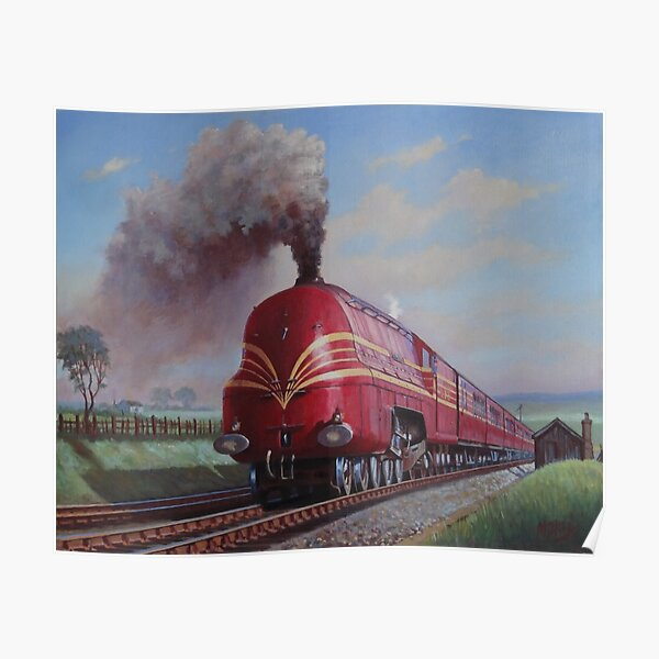 POSTER COMMODORE VANDERBILT HIGH POWERED STEAM LOCOMOTIVE VINTAGE REPRO FREE S//H