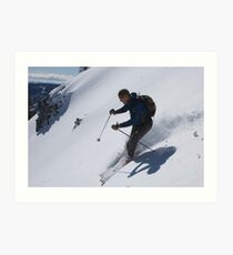 Spring ski shadows - Sugarbowl Sidecountry Art Print