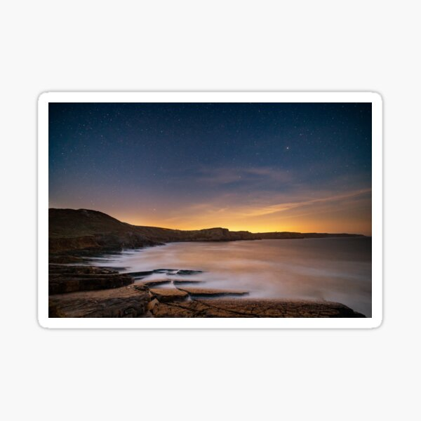 Fall Bay from Tears Point at night, Gower Sticker
